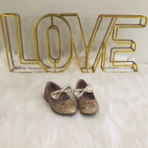 Toddler shiny gold sequins dress shoes
